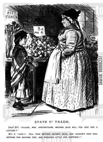 grocer cartoon humor: A child asking a street seller for a free lettuce.