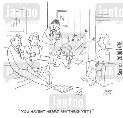 practising violin cartoon humor: 'You haven't heard anything yet!'