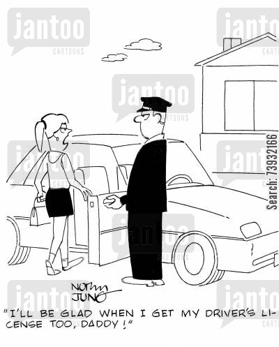 driving licenses cartoon humor: 'I'll be glad when I get my driver's license too, daddy!'