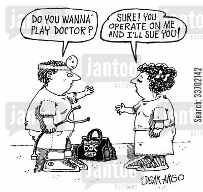 receive compensation cartoon humor: Playing Doctors.