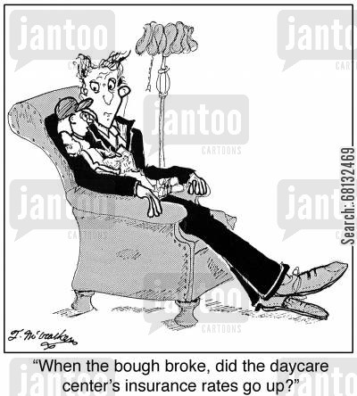 lullabies cartoon humor:  'When the bough broke, did the daycare center's insurance rates go up?'