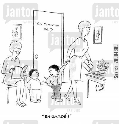 play fight cartoon humor: Child to another child - 'En garde!'
