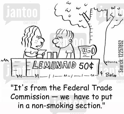 federal trade cartoon humor: 'It's from the Federal Trade Commission -- we have to put in a non-smoking section.'