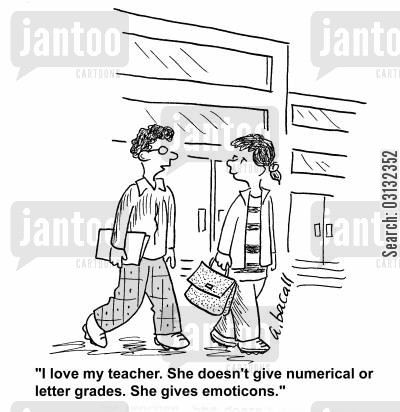 emoticons cartoon humor: 'My teacher doesn't give numerical or letter grades. She gives emoticons.'