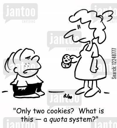 rations cartoon humor: 'Only two cookies? What is this -- a quota system?'
