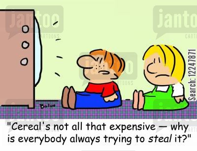 television ads cartoon humor: 'Cereal's not all that expensive -- why is everybody always trying to steal it?'