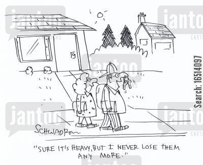 losing keys cartoon humor: 'Sure, it's heavy, but I never lose them any more.'