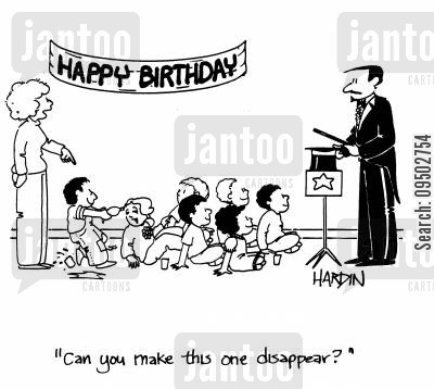 magic show cartoon humor: 'Can you make this one disappear?'