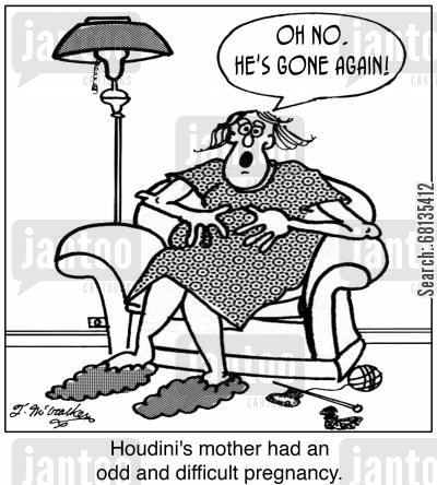 miscarriage cartoon humor: 'Houdini's mother had an odd and difficult pregnancy.' 'Oh no. He's gone again!'