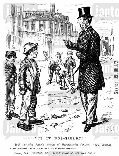 factories cartoon humor: A gentleman giving some children a lesson in manners