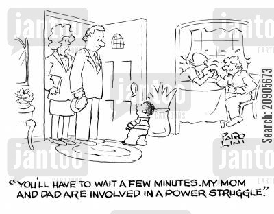 thumb wars cartoon humor: 'You'll have to wait a few minutes. My mom and dad are involved in a power struggle.'