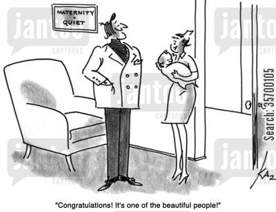 new babies cartoon humor: 'Congratulations! It's one of the beautiful people!'