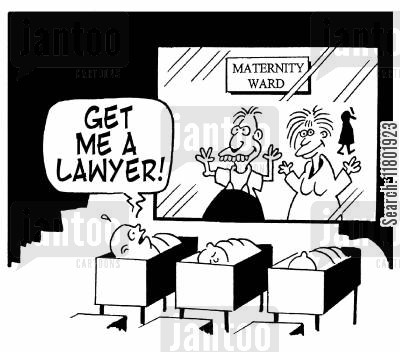 new parent cartoon humor: 'Get me a lawyer!'