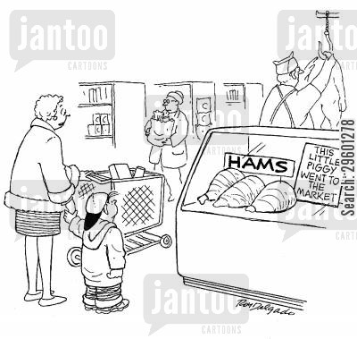 rhyme cartoon humor: Hams - this little piggy went to the market.