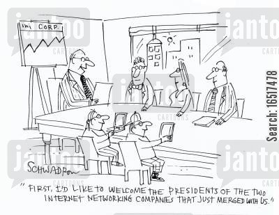 generations cartoon humor: 'First, I'd like to welcome the presidents of the two internet networking companies that just merged with us.'