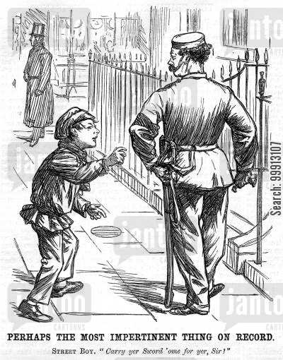weapons cartoon humor: Street boy offering to carry a soldier's sword