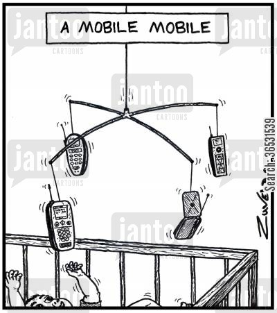 cot cartoon humor: A mobile mobile.
