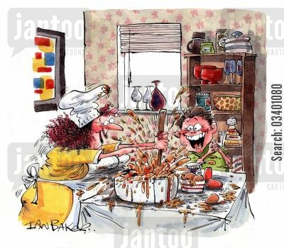 messy cook cartoon humor: Cooking with mum.