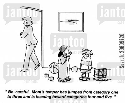 cautious cartoon humor: 'Be careful. Mom's temper has jumped from category one to three and it's heading toward categories four and five.'