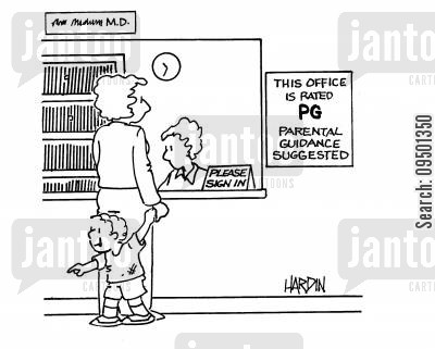 register cartoon humor: This office is rated PG. Parental Guidance suggested.