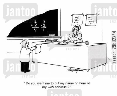 forms cartoon humor: 'Do you want me to put my name on here or my web address'