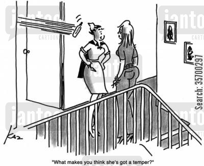 nanny cartoon humor: 'What makes you think she's got a temper?'