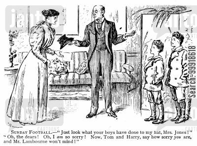 forgiveness cartoon humor: Man who has had his hat ruined by boys showing their lenient mother.