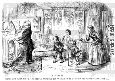 poker cartoon humor: Boy about to poke a man from behid with a stick after having seen a pantomime