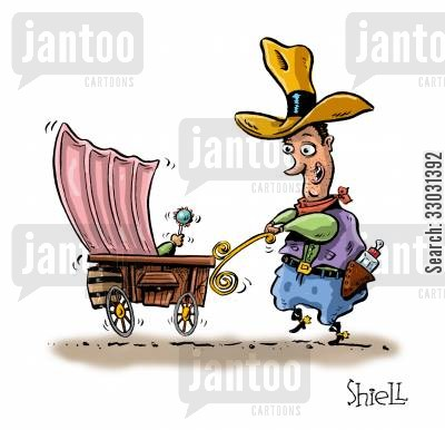 covered wagon cartoon humor: L'il Buckaroo.