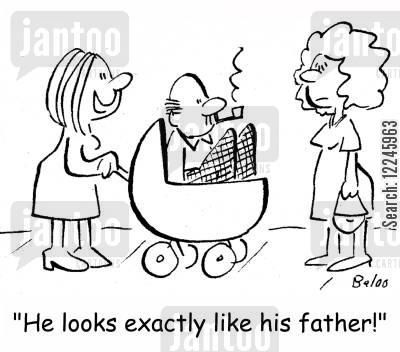 strollers cartoon humor: 'He looks exactly like his father!'