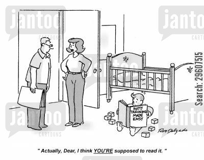new parent cartoon humor: 'Actually dear, I think YOU'RE supposed to read it.'