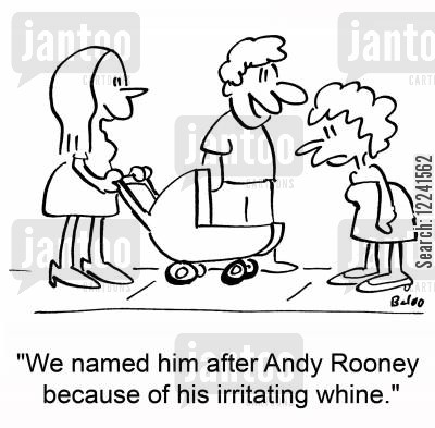 naming babies cartoon humor: 'We named him after Andy Rooney because of his irritating whine.'