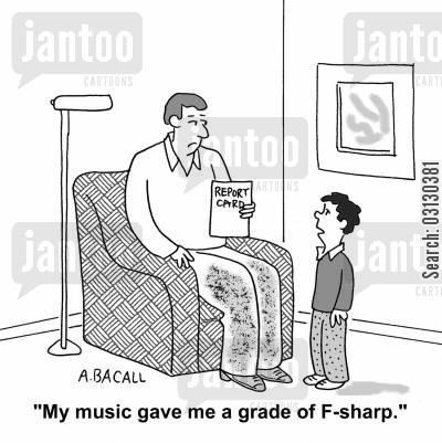 music teacher cartoon humor: My music gave me a grade of F sharp.