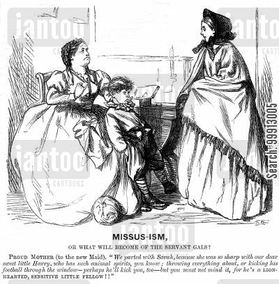 proud mother cartoon humor: Proud mother telling new maid to be lenient to her unruly son