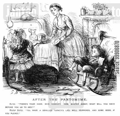 suppers cartoon humor: A nursemaid looking after two children