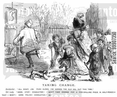 street urchins cartoon humor: A lady being given her change in half-pennies