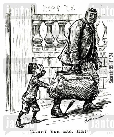 page boy cartoon humor: Small boy offering to carry a large bag