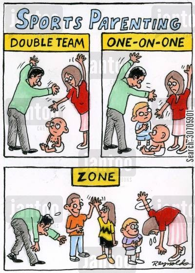 double teaming cartoon humor: Sports Parenting.
