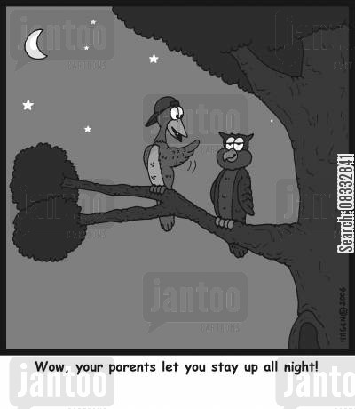 out all night cartoon humor: Wow, your parents let you stay up all night!
