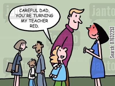 single parents cartoon humor: Careful Dad, you're turning my teacher red.