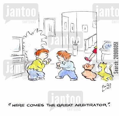 fighting boys cartoon humor: 'Here comes the great arbitrator.'