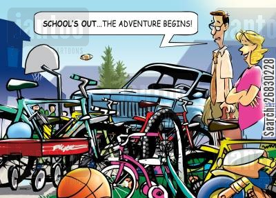 summer vacations cartoon humor: 'School's out... the adventure begins!'