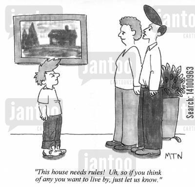 irresponsibility cartoon humor: This house needs rules! ...so if you think of any you want to live by, just let us know.
