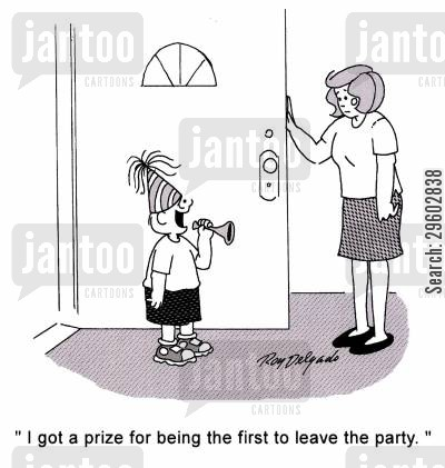 awarding cartoon humor: 'I got a prize for being the first to leave the party.'