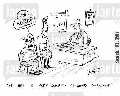 childhood complaints cartoon humor: 'He has a very common childhood complaint.'