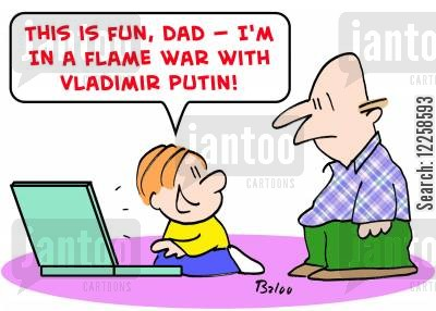 online gaming cartoon humor: 'This is fun, Dad -- I'm in a flame war with Vladimir Putin!'