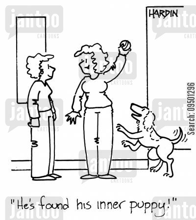 childlike cartoon humor: 'He's found his inner puppy!'
