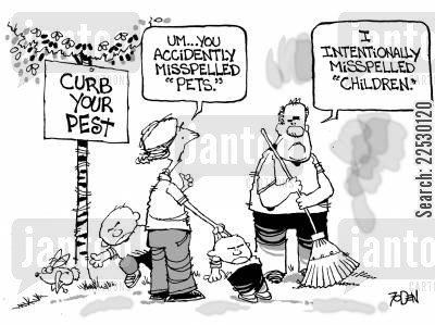 park keeper cartoon humor: I intentionally misspelled 'Children'.