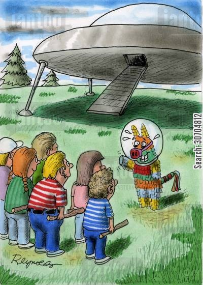 alien spacecraft cartoon humor: Pinata alien.