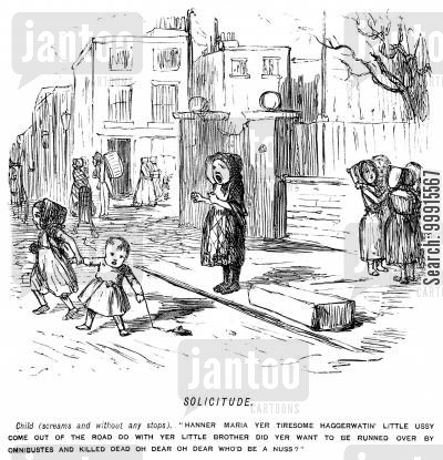 street cartoon humor: Girl shouting at children to stop playing in the road